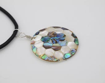 green abalone shell pendant, white mother of pearl necklace, football round jewelry, football shell statement jewelry, gift for football fan