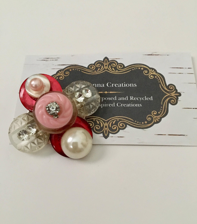 Pink Red Vintage Button PinPearl Rhinestone Pin Repurposed