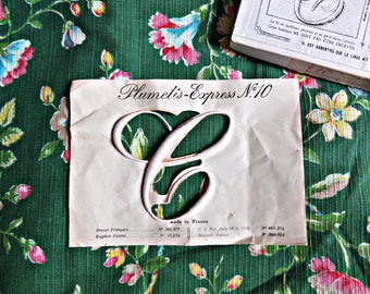 Antique French initial, monogram, letter, for embroidery, M