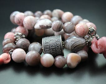 Botswana agate and rhodocrosite bracelet stretch tassel bracelet boho tribal bracelet gemstone stacking bracelet gray and pink bracelet