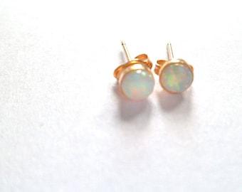 NEW Opal, small opal earrings, Rose gold stud earrings 14k gold fill white Australian natural 4mm, mothers day