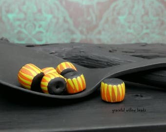 Striped Polymer Mini Rondelle Bead - Orange Black Lime Stripe - Handmade Modern Bohemian Bead - 6-7mm - Pkg. 6