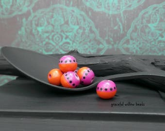 Magenta Pink Orange Black Polka Dot Round Wood Bead - Hand Painted Moroccan Style Wood Bead - 7-8mm - Pkg. 8