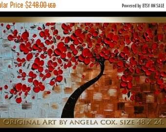 SALE Original   Modern Red  Flowers Tree  Acrylic  Impasto Textured  Palette Knife Painting.