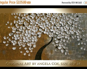 SALE Original   Modern Gold Silver White Flowers  Tree  Acrylic  Impasto Textured  Palette Knife Painting.