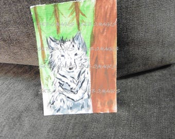 Hand Painted ACEO Gray Wolf, miniature, artist trading card, wolf art, wildlife art , woodland, Fine Art Watercolor by HikingTrails