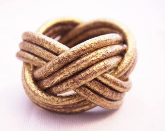Antique gold braided leather ring