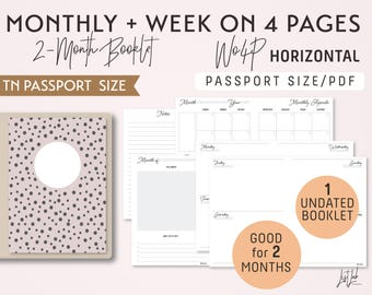 PASSPORT Size Monthly-Week on 4 Pages Horizontal Printable Booklet Insert - Good for 2 Months