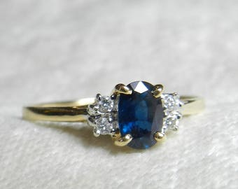 Sapphire Ring 14K Vintage Engagement Blue Sapphire Cardow Jewelers St. Thomas Engagement Ring Genuine Sapphire Yellow Gold Anniversary Ring