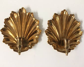 pair of vintage brass candlestick holders / wall decor
