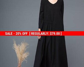 Black linen dress, dress, womens dress, long dress, long sleeves dress, loose dress, casual dress, maxi dress, autumn dress C1146