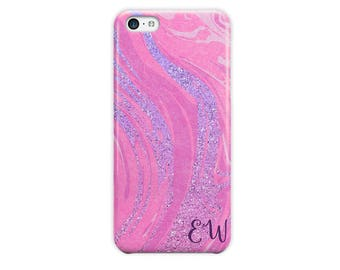 Faux glitter iPhone 6s case, Hot pink purple, Marble iPhone case, For daughter, Fits 4 4s 5 5s 6 6s 7 8 5c SE and Plus (1786)