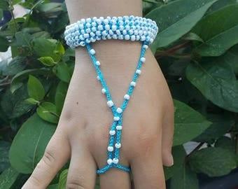 Red Hand-crochet Rope Bracelet with silvery beads, beach,boho, lolita,wristband,wriststrap