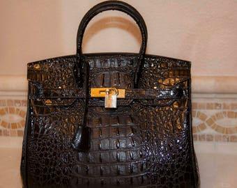 Sac de Jour Black Large Crocodile-Embossed Leather Satchel Kelly Bag