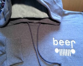 JEEP HOODIE Sweatshirt - Embroidered -  with BEER design