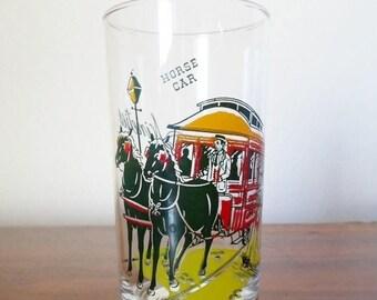 "ON SALE Vintage Gay Nineties  12oz. Bar Glass Barware   ""Horse Car""  Mid Century Modern"