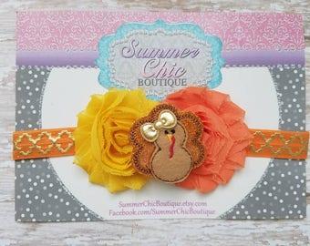 Thanksgiving Headband, Turkey Headband, Fall Headband, Baby Headband, Orange Baby Headband, Infant Headband, Newborn Headband, Fall Baby