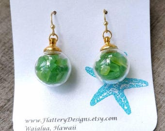 Tiny Hawaiian Sea Glass Bubble Earrings