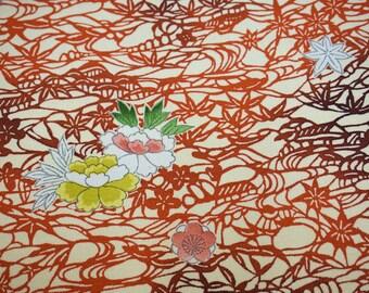 Vintage Japanese silk kimono fabric. Landscape scene Tango chirimen silk kimono fabric