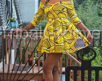 ZARIAH - Yellow Waves African Ankara Wax Print Dress - MINI or MIDI