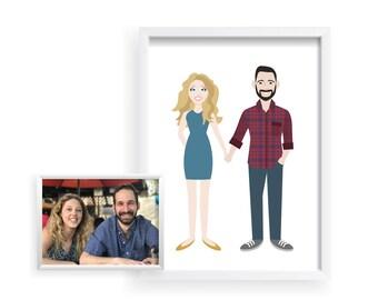 Caricature Custom Family Illustration, Family Portrait, Gift for Her, Gift for Him, Gift for Boyfriend, Gift for Girlfriend, Social Media