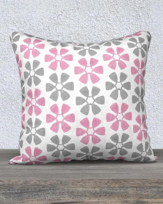 Pink and Gray Pillow Cover for Kids