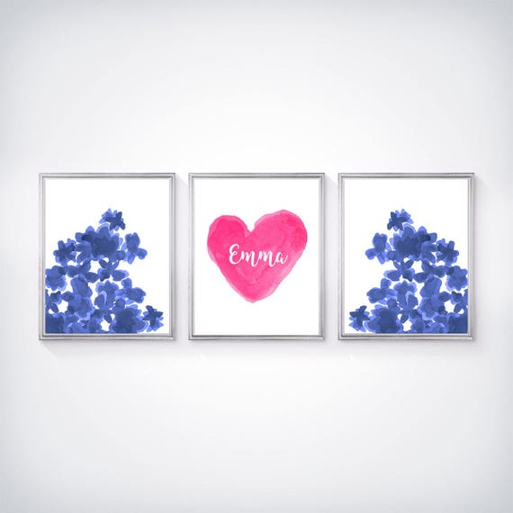 Hot Pink and Navy Prints, Set of 3-8x10, Personalized