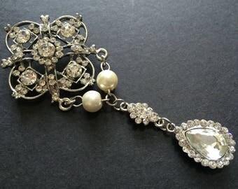 Victorian Swarovski rhinestone crystals pearls wedding bridal brooch pin, chandelier brooch, victorian brooch, wedding brooch, crystals pin