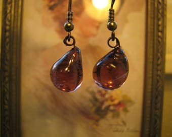 Purple Glass Drop Earrings, Vintage Purple Glass Teardrop Earrings, Vintage Teardrop Earrings,