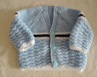 Baby Cardigan Jacket Unique Hand Knitted 18 Inch 3-6 Months