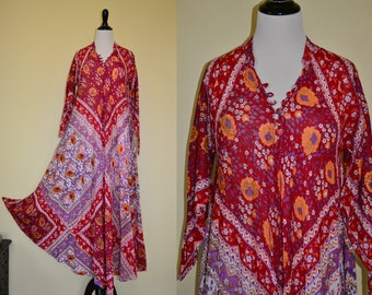 Vtg 70's India Goddess Di Carlo of CA boho flowy floral vivid red/ lavender block print sheer cotton gauze Angel wing sleeve Maxi dress
