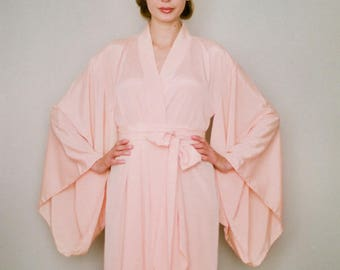 """One readymade """"Noguchi"""" kimono robe in faux silk. Long kimono bridal robe Long silk kimono Peach Bridal robe Gift for her. US size 4-6"""