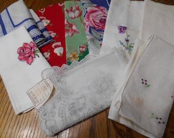 9 Vintage Hankies / Handkerchiefs