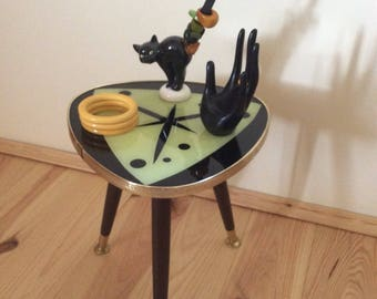 Stardust 50's german plant stand, coffe, night table, planter, MCM display bench etagère with glass top