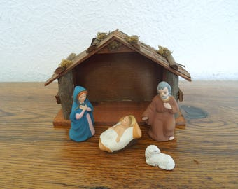 Vintage Nativity Set Papier Mache Composition Japan Norcrest 5 Piece Set