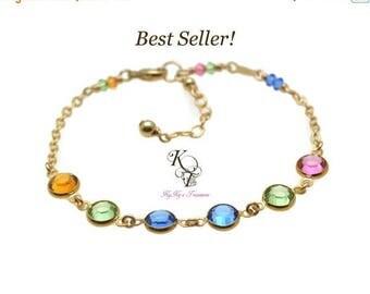 Mothers Birthstone Bracelet, Grandma Bracelet, Gold Birthstone Bracelet, Grandmother Bracelet, Birthstone Gifts, Gold Bracelet, Mom Gifts