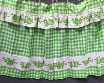50's Apple Curtains Alexo for JC Penney 2 Curtain Panels and Valance - Green and White Gingham with Apple Motif and Lettering