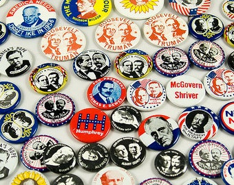 Reproduction Election Campaign Buttons from 1980, Large Lot of 72