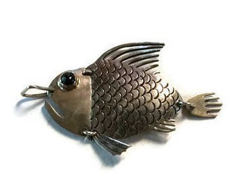 Reticulated Fish Sterling Silver Pendant