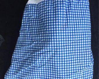 Vintage Ralph Lauren Blue & White gingham bedskirt dust ruffle