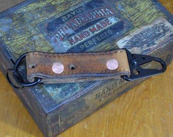 Leather Keychain / Key Fob Vintage Swiss Military Keychain Swiss Army HK Key Clip with original Swiss Military stamping