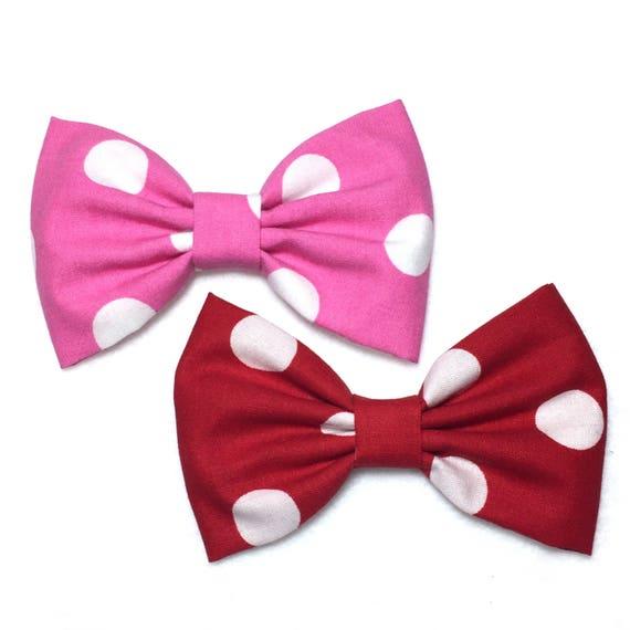 Red Polka Dot Hair Bow, Red Bow Tie, Red Bow Clip, Fabric Bow For Girls, Kawaii Girl Hair Bow, Handmade Hair Bow, Minnie Mouse Bow, PDOO76