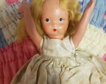 little lady – Nancy Ann Storybook doll with blonde wig, dress, bisque, vintage toy, sweet painted face, 1940s