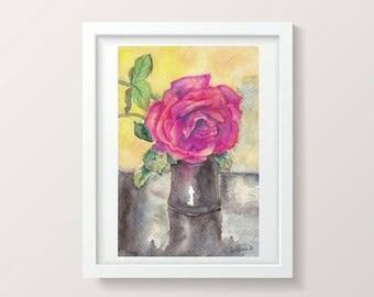 Bright wall art, Watercolor rose painting,  Small wall art decor, Floral watercolor, Watercolor flower, Floral painting, Original watercolor