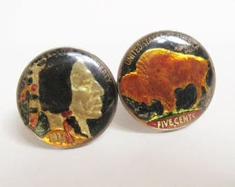 DECO Vintage 1930s Sterling Silver Multi Color Enamel Lucite BUFFALO Indian Head NICKEL Cuff Links Artisan Hipster Fashion Cufflinks Jewelry