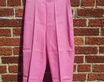 Vintage 50s Rockabilly Capri Pants // Pink Pedal Pushers // Cropped Cigarette Pants