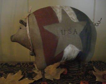 Primitive Patriotic American Pig