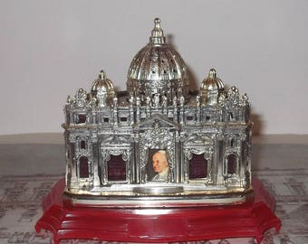 Carillon Basilica San Pietro, Pope John Paul II, Vatican, Souvenir Music Box, Arrivederci Roma, Modello Depositato Italy