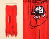Elephant Skirt // Red Fringe Skirt // 80s 90s Boho Maxi Wrinkle Fabric Long Hippie Bohemian Festival Black Animal Print Size Small