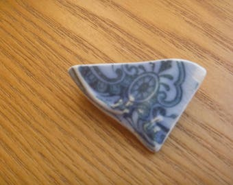 patterned sea pottery brooch, ecofriendly ceramic brooch